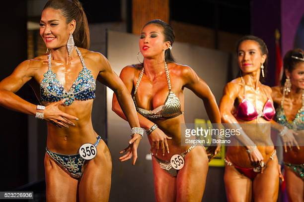 Bodybuilders pose during the Mr Thailand 2016 bodybuilding competition in Bangkok Thailand
