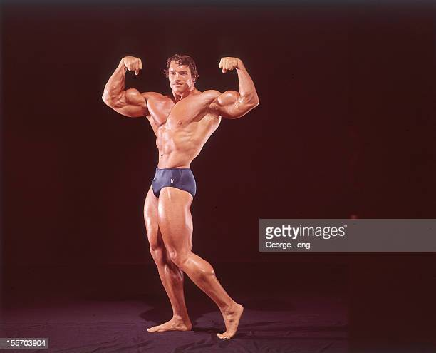 Portrait of Arnold Schwarzenegger posing during photo shoot Los Angeles CA CREDIT George Long