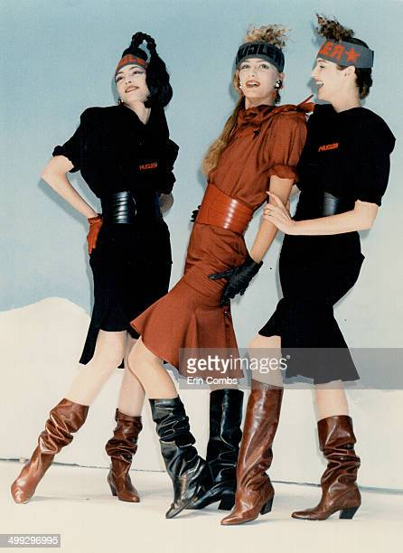 Bodyconscious Thierry Mugler's kneebaring dresses for the thin only had wide shoulders and very narrow cinched waists