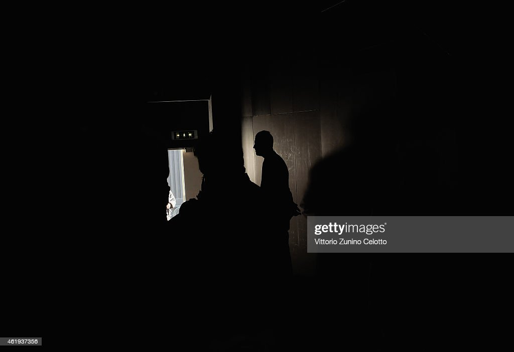 A bodyguard at the door during the Giorgio Armani Show as part of Milan Menswear Fashion Week Fall Winter 2015/2016 on January 20, 2015 in Milan, Italy.