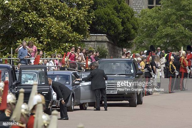 Bodyguards accompany members of the Royal family and Prince William's girlfriend Kate Middleton as they arrive for the Order of the Garter service at...
