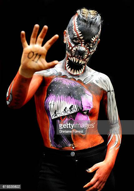 Bodypaint model poses during Manchester International Tattoo Show at Manchester Central on October 30, 2016 in Manchester, England.