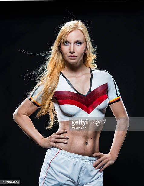 Bodypainted female soccer player