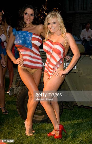 Bodypainted models pose at the Stars And Stripes Evening Of Sexy Patriotism at The Playboy Mansion on May 16 2009 in Beverly Hills California