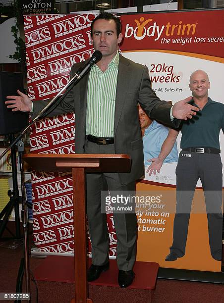 Bodytrim MD Geoff Jowett addresses the media as AlyssaJane Cook is announced as the new face of weight loss program Bodytrim at Dymocks on George...