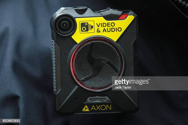 A bodyworn camera is pictured on a police officer's uniform at Brixton Police Station on January 25 2017 in London England The Metropolitan Police...