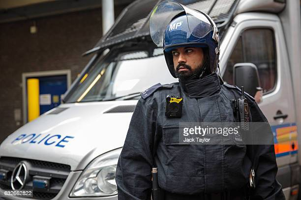 A bodyworn camera is pictured on the uniform of PC Mohammed Azir at Brixton Police Station on January 25 2017 in London England The Metropolitan...