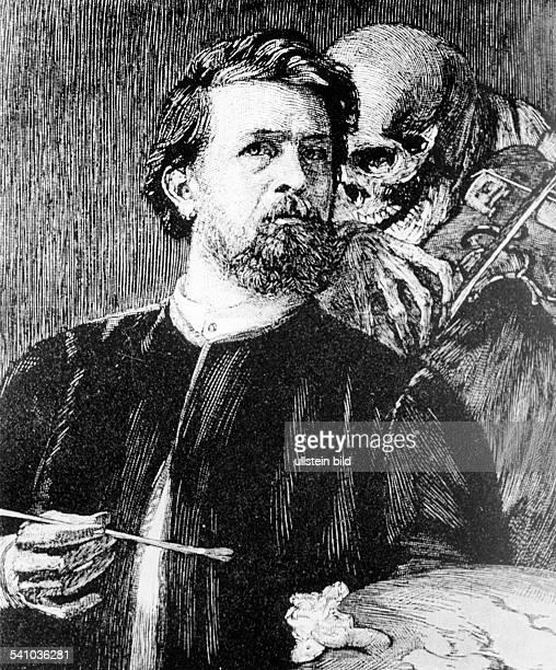 Boecklin Arnold *16101827Maler und Bildhauer CH`Selbstbildnis mit fiedelndem Tod'Holzschnitt 1872