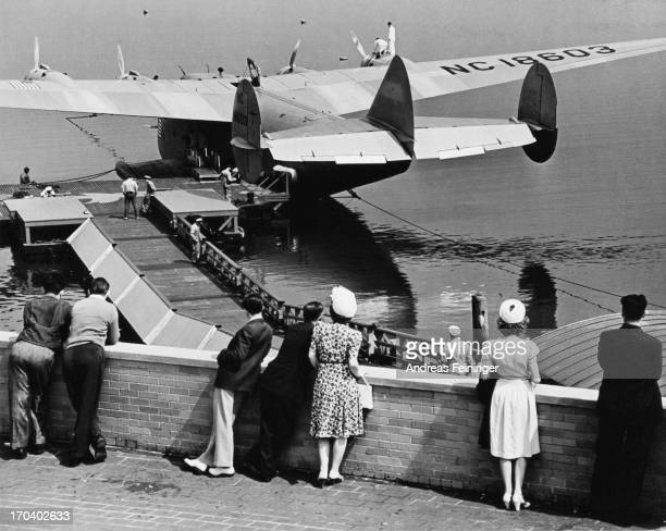 Boeing 314 Clipper NC 18603 a longrange flying boat in New York City USA 1940