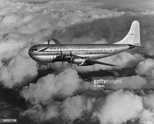 A Boeing 3771026 Stratocruiser in flight circa 1948 The aircfraft shown is in Boeing markings and is being used as a second prototype It was later...