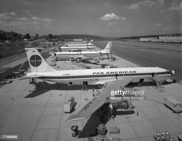 Boeing 707120's receive the final touches at the Boeing plant in Renton Washington on August 10 1958 This plane made history when Pan American World...