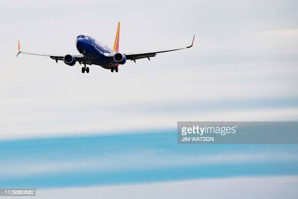 A Boeing 737 800 flown by Southwest Airlines approaches for landing at Baltimore Washington International Airport near Baltimore Maryland on March 11...