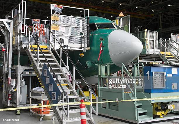 A Boeing 737 aircraft is seen during the manufacturing process at Boeing's 737 airplane factory in Renton Washington May 19 2015 Boeing expects to...