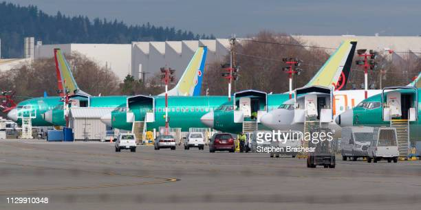 Boeing 737 airplanes most of which are the MAX model sit on the tarmac outside the on March 11 2019 in Renton Washington Boeing's stock dropped today...