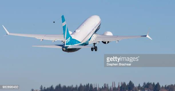 Boeing 737 MAX 7 lifts off for first flight at Renton Municipal Airport on March 16 2018 in Renton Washington The aircraft is the shortest variant of...