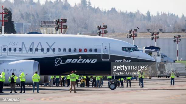 Boeing 737 MAX 7 taxis before its first flight at Renton Municipal Airport on March 16 2018 in Renton Washington The aircraft is the shortest variant...