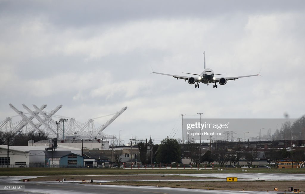 A Boeing 737 MAX 8 airliner lands at Boeing Field to complete its first flight on January 29, 2016 in Seattle, Washington. The 737 MAX is the newest generation of Boeing's most popular airliner featuring more fuel efficient engines and redesigned wings.