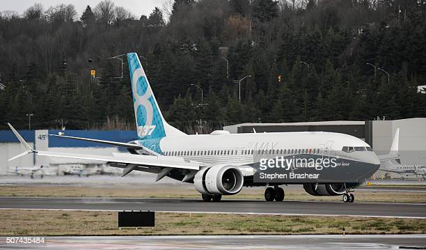 Boeing 737 MAX 8 airliner lands at Boeing Field to complete its first flight on January 29 2016 in Seattle Washington The 737 MAX is the newest...