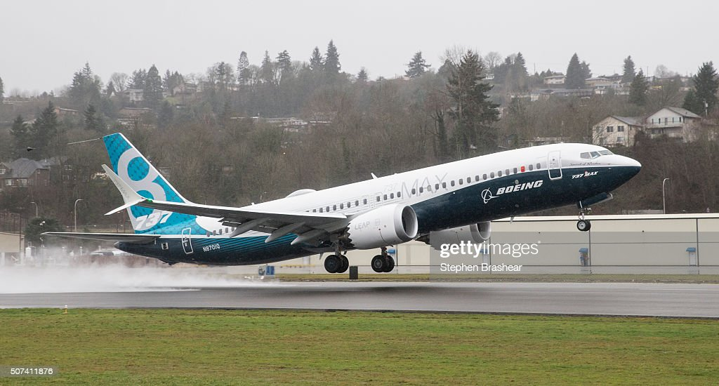 A Boeing 737 MAX 8 airliner lifts off for its first flight on January 29, 2016 in Renton, Washington. The 737 MAX is the newest of Boeing's most popular airliner featuring more fuel efficient engines and redesigned wings.