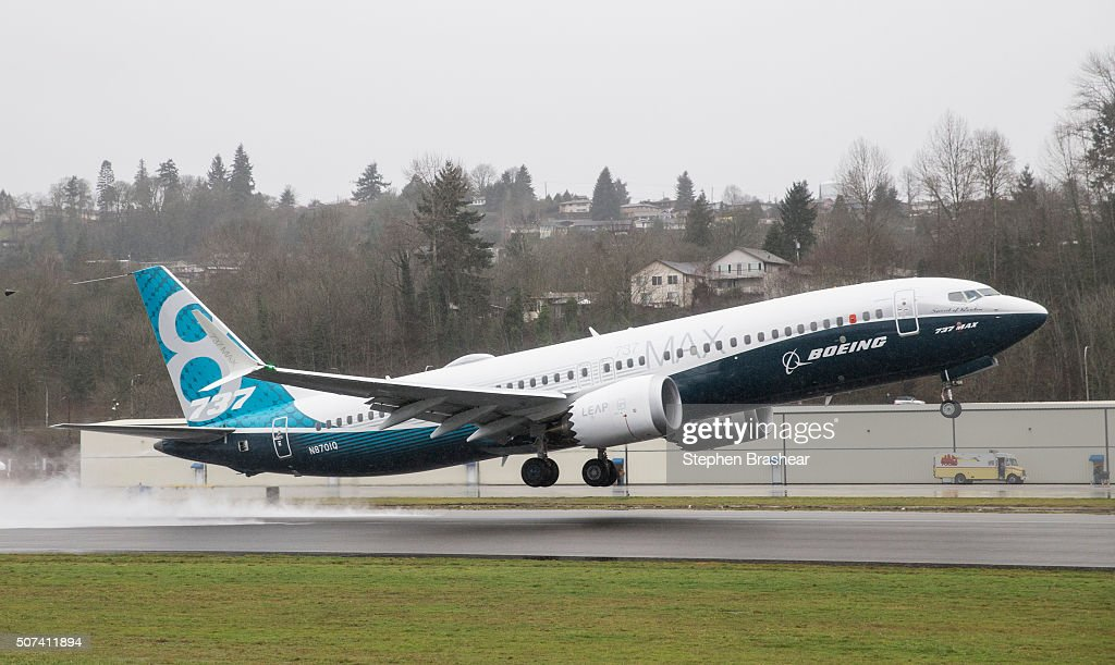 Boeing Holds First Test Flight For 737 MAX Aircraft : News Photo
