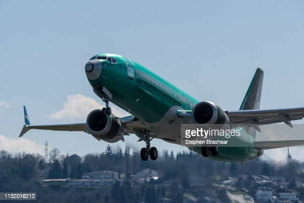 Boeing 737 MAX 8 airliner takes off from Renton Municipal Airport near the company's factory on March 22 2019 in Renton Washington After two crashes...