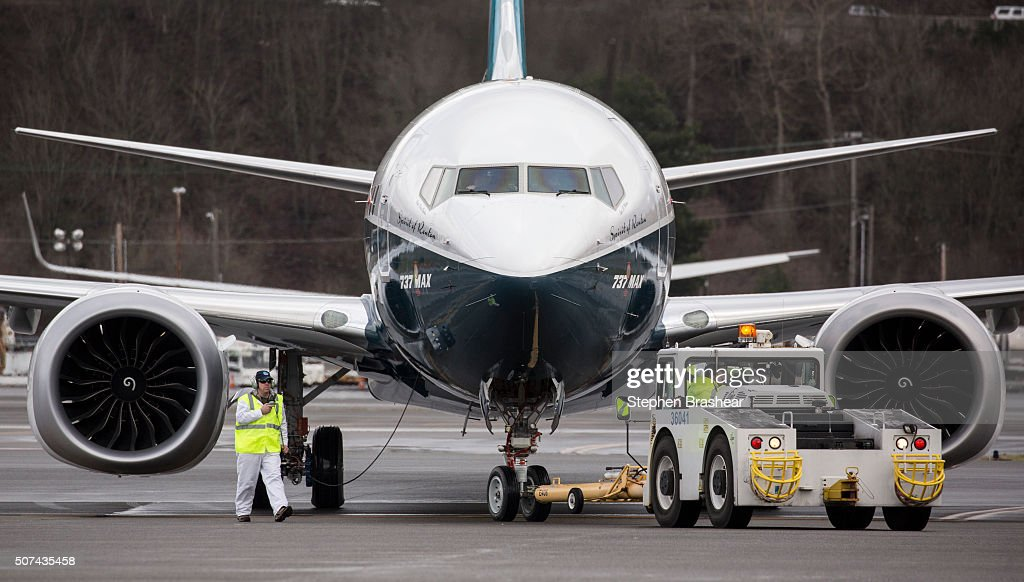 A Boeing 737 MAX 8 airliners taxis after landing at Boeing Field to complete its first flight on January 29, 2016 in Seattle, Washington. The 737 MAX is the newest generation of Boeing's most popular airliner featuring more fuel efficient engines and redesigned wings.