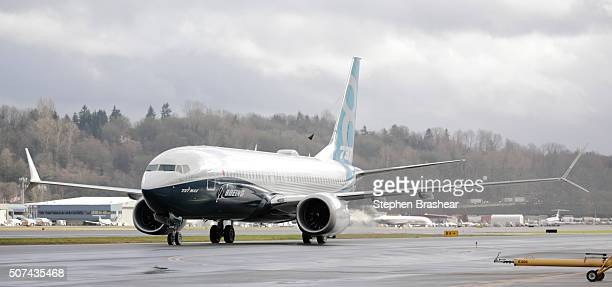 Boeing 737 MAX 8 airliners taxis after landing at Boeing Field to complete its first flight on January 29 2016 in Seattle Washington The 737 MAX is...