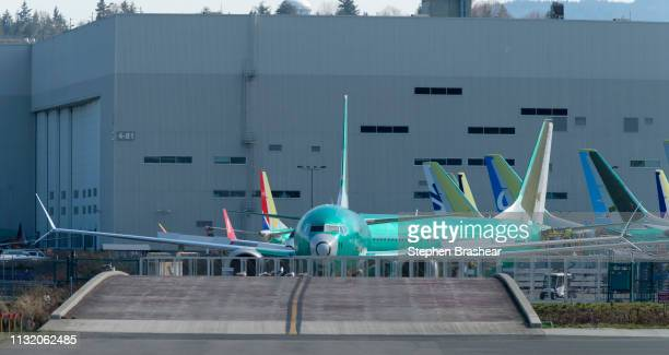 Boeing 737 MAX 8 airplane is pictured outside the company's factory on March 22 2019 in Renton Washington 737 MAX airplanes have been ground by...