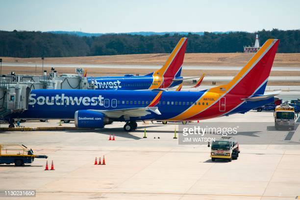 A Boeing 737 Max 8 flown by Southwest Airlines sits at the gate at Baltimore Washington International Airport near Baltimore Maryland on March 13...
