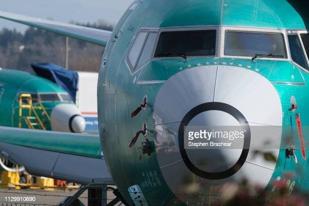 Boeing 737 MAX 8 is pictured outside the factory on March 11 2019 in Renton Washington Boeing's stock dropped today after an Ethiopian Airlines...