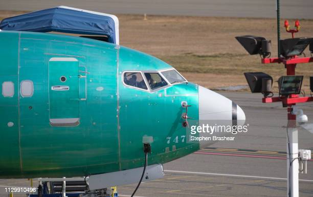 Boeing 737 MAX 8 is pictures outside near the company's factory on March 11 2019 in Renton Washington Boeing's stock dropped today after an Ethiopian...