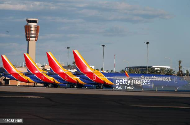 Boeing 737 Max 8 passenger planes sit on the tarmac at Phoenix Sky Harbor International Airport on March 13 2019 in Phoenix United States The United...