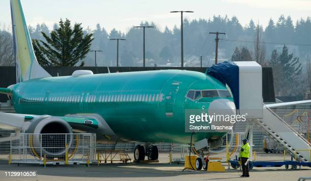 Boeing 737 MAX 9 airplane test its engines outside of the company's factory on March 11 2019 in Renton Washington Boeing's stock dropped today after...