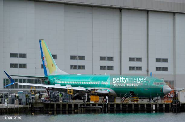 Boeing 737 MAX 9 sits outside of the factory on March 11 2019 in Renton Washington Boeing's stock dropped today after an Ethiopian Airlines flight...