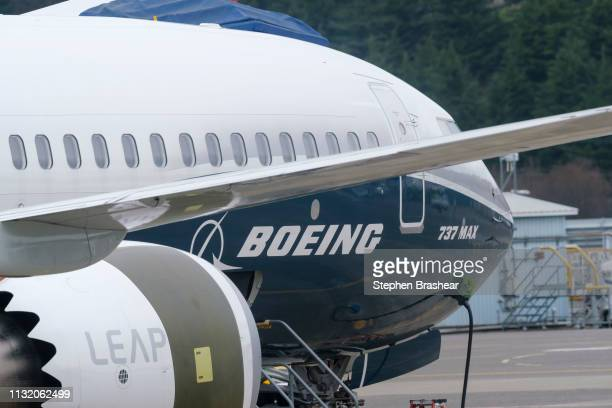 Boeing 737 MAX 9 test plane is pictured at Boeing Field on March 22 2019 in Seattle Washington 737 MAX airplanes have been ground by multiple...