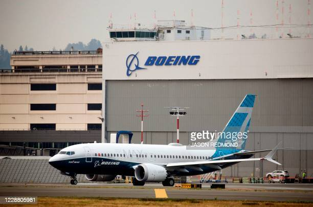 Boeing 737 MAX airliner piloted by Federal Aviation Administration Administrator Steve Dickson taxis for a two-hour evaluation flight at Boeing Field...