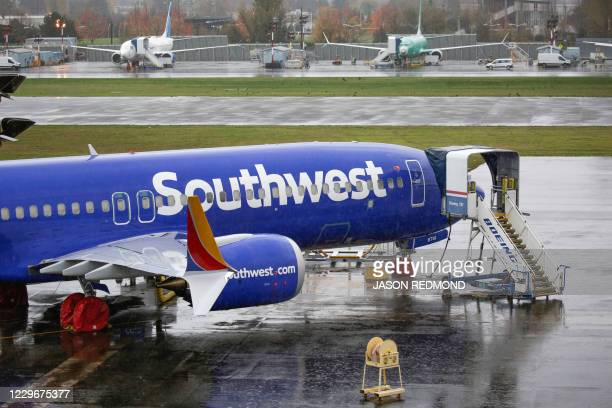 Boeing 737 MAX airliner with Southwest Airlines markings is pictured on the ramp at Renton Airport adjacent to the Boeing Factory in Renton,...