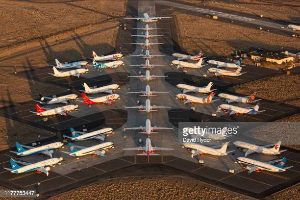 Boeing 737 MAX airplanes along with one Boeing 787 at top are parked at Grant County International Airport October 23 2019 in Moses Lake Washington...