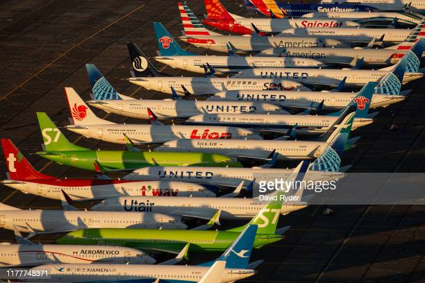 Boeing 737 MAX airplanes are parked at Grant County International Airport October 23, 2019 in Moses Lake, Washington. Boeing reported that its...