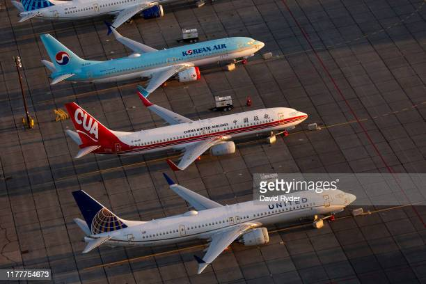 Boeing 737 MAX airplanes are parked at Grant County International Airport October 23 2019 in Moses Lake Washington Boeing reported that its profits...