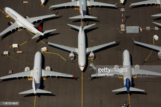 Boeing 737 MAX airplanes are seen parked on Boeing property near Boeing Field on August 13 2019 in Seattle Washington