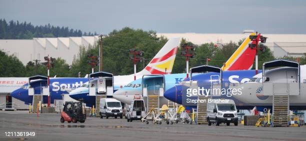 Boeing 737 MAX airplanes are shown outside the company's factory on April 29 2020 in Renton Washington Boeing announced during an earnings call today...
