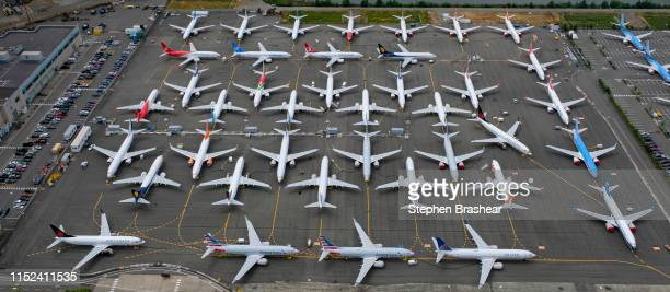 Boeing 737 MAX airplanes are stored in an area adjacent to Boeing Field on June 27 2019 in Seattle Washington After a pair of crashes the 737 MAX has...