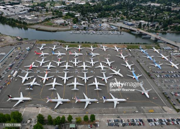 Boeing 737 MAX airplanes are stored on employee parking lots near Boeing Field on June 27 2019 in Seattle Washington After a pair of crashes the 737...
