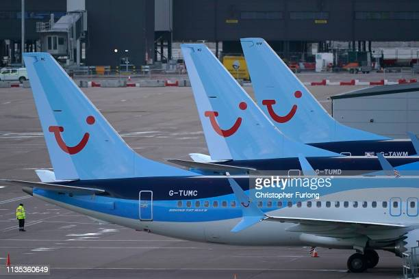 Boeing 737 Max8 aircraft are parked up at a gate in the terminal of Manchester Airport on March 12 2019 in Manchester England The Civil Aviation...