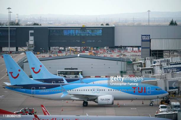 Boeing 737 Max8 aircraft is parked at Manchester Airport on March 12 2019 in Manchester England The Civil Aviation Authority has grounded Boeing 737...