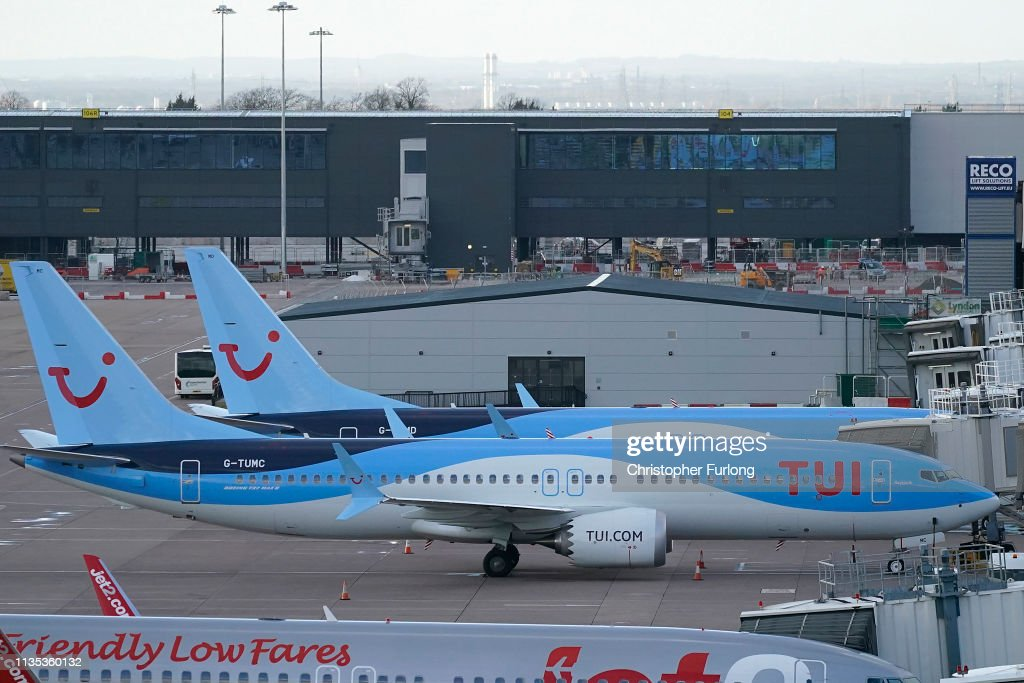 Boeing 737 Max 8 Parked After UK Civil Aviation Authority Instructed Grounding The Aircraft Following The Ethiopian Crash : News Photo