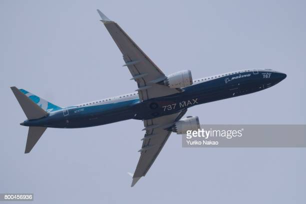 Boeing 737 MAX9 takes part in a flying display over the Le Bourget Airport during the 52nd International Paris Air Show on June 22 in Paris France