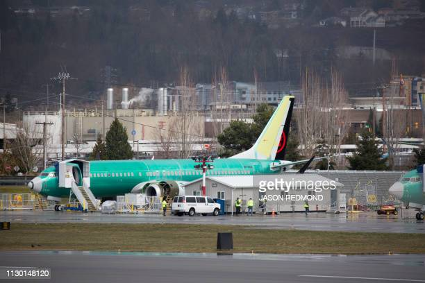 A Boeing 737 with Air Canada markings is pictured on the tarmac at the Boeing Renton Factory in Renton Washington on March 12 2019 The US said there...