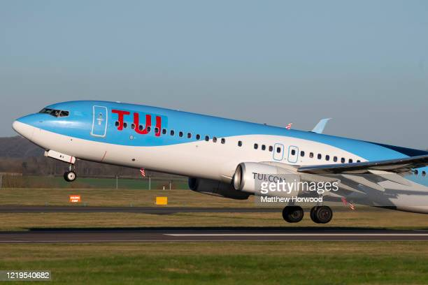 Boeing 737800 aircraft takes off at Cardiff Airport on January 19 2020 in Cardiff United Kingdom